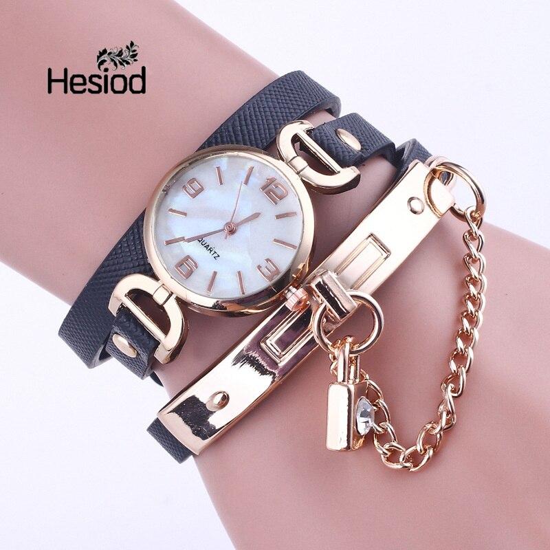 Hesiod Fashion Top Brand Luxury Quartz Wrist Watch Bracelet Women Watches Ladies Female Clock Lock Crystal Pendant Watch