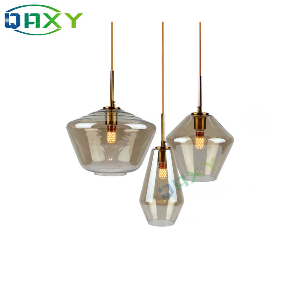 Post-Modern Clear/Amber Glass Shade Pendant Lights 3 Style Attractive Hanging Light Fixture Kitchen Bar Hotel Shop Pendant Lamps