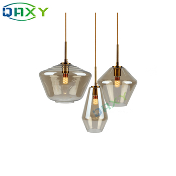Post-Modern Clear/Amber Glass Shade Pendant Lights 3 Style Attractive Hanging Light Kitchen Bar Hotel Shop Pendant Lamps[D1501] fumat stained glass pendant lamp antique style baroque glass body flower shade restaurant suspension lampe hotel project lights