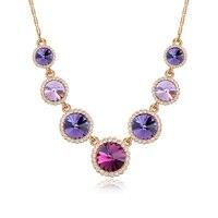 Vintage Four Color Gold Fantastic SWAROVSKI ELEMENTS Pendant Necklaces Crystal Trendy