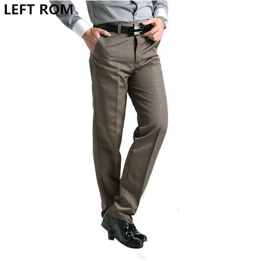 LEFT ROM men autumn trousers premium brand fashion business leisure Khaki Pants male grid work profession loose casual pants