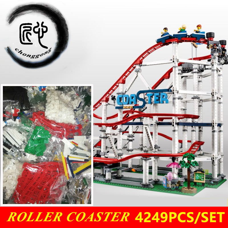 With engine New The roller coaster fit 10261 city creator figures building Blocks Bricks Kid Toys