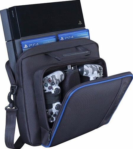 leather hand belt black bag Game Console and Accessories Carrying Black Protect Bag For PS4