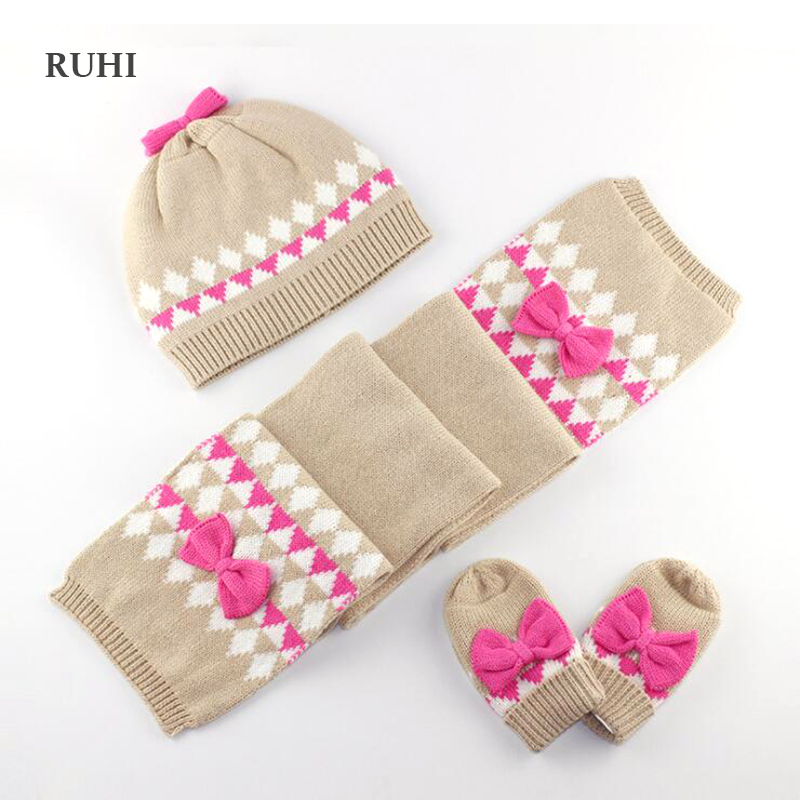09741a765bbb Christmas Gift Girl Hat Scarf And Gloves Set Children Cap Baby Girls ...