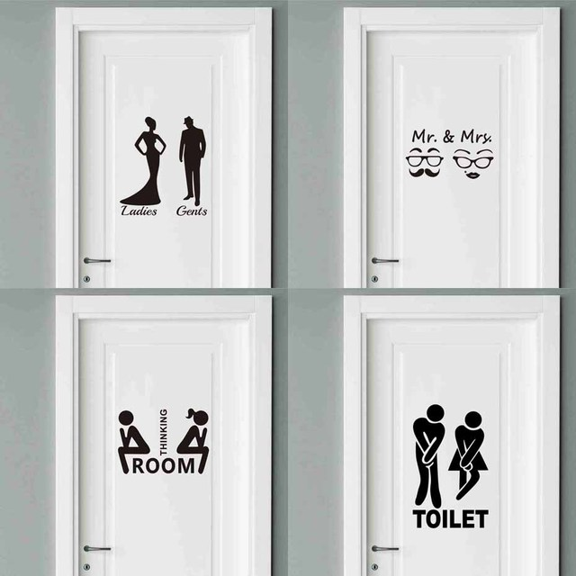 Mr Mrs Quotes Toilet Door Sticker Fashion Bathroom Decals Diy Waterproof Wall