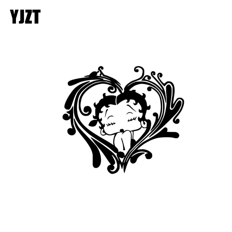YJZT 15.5CM*13.8CM Beautiful Girl Kiss Heart Car Sticker Vinyl Decal Black/Silver C3-0310