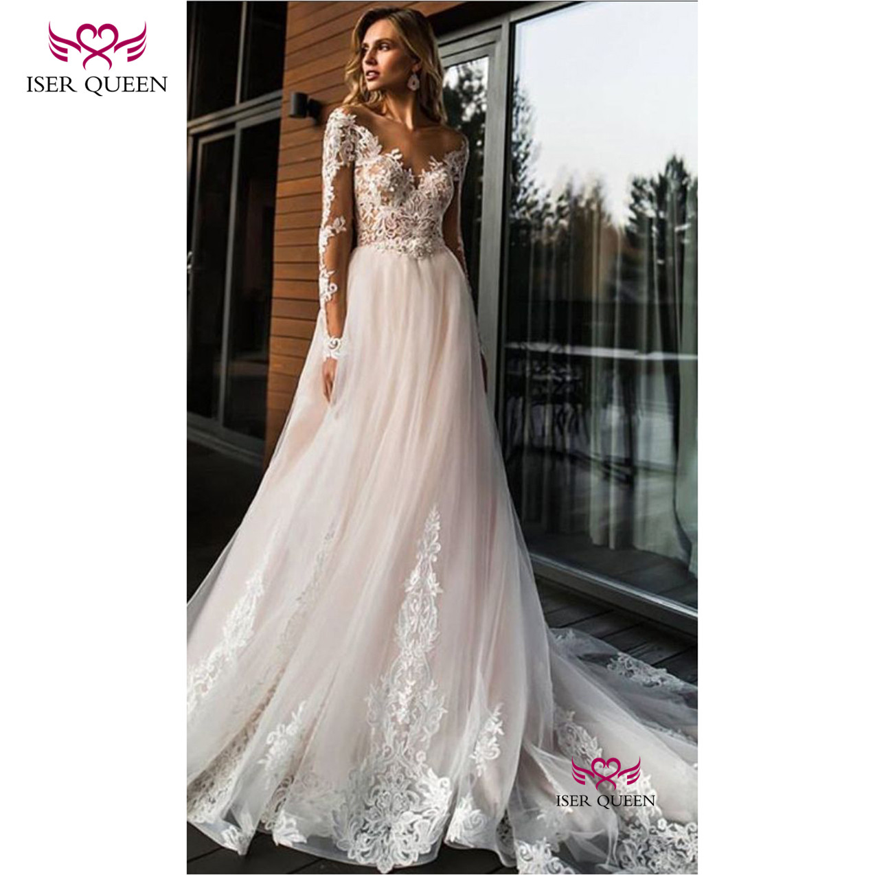 Charming V-neck Long Sleeves With Embroidery And Lace Vestido De Noiva Praia Tulle Champagne Button Illusion Chapel Train W0575