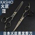 2 pcs Tesouras Do Cabelo Kasho 5.5 ou 6.0 polegada pro tesoura cabeleireiro styling ferramentas salão de desbaste de corte em linha reta saco caso