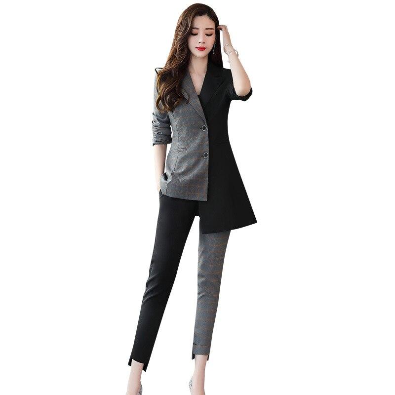 Blanc Noir Coréenne ardoisé Avec Noir Veste Deux Mince 95 Et Costumes Bande Femme Dames Sa Mode De Costume pièce Pantalon Bqwfq51