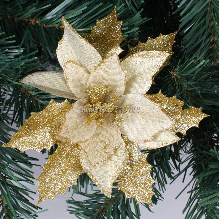 17cm 3 colors available christmas tree decoration flower high quality xmas flower decoration artificial poinsettia flower in artificial dried flowers from - Christmas Tree Flower Decorations