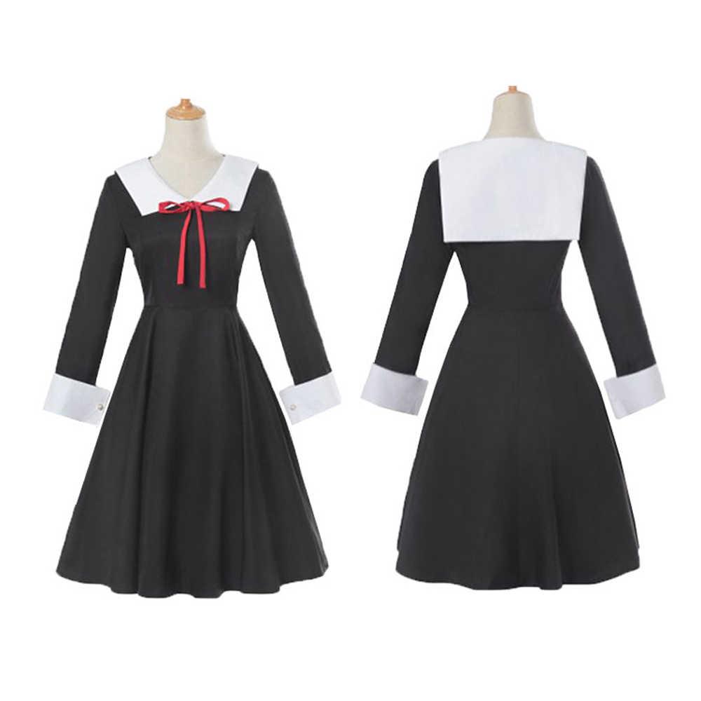 Anime kaguya sama amor é guerra cosplay conjuntos de fantasia kaguya shinomiya chika cosplay traje menina preto escola uniforme vestido + peruca