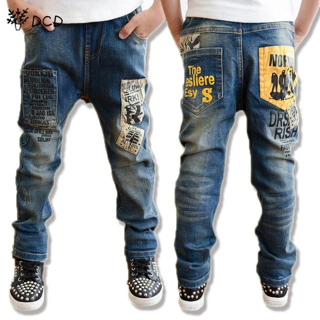 2017 New Casual kids boy jeans Children Pants Letter Print Design Boys Jeans Autumn Kids Trousers Children Clothing Kids Clothes