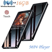 Bluetooth MP4 Player 16GB Touch Button Ultra thin HIFI Lossless Sound Quality Video Player with FM Radio, Support SD up to 128GB