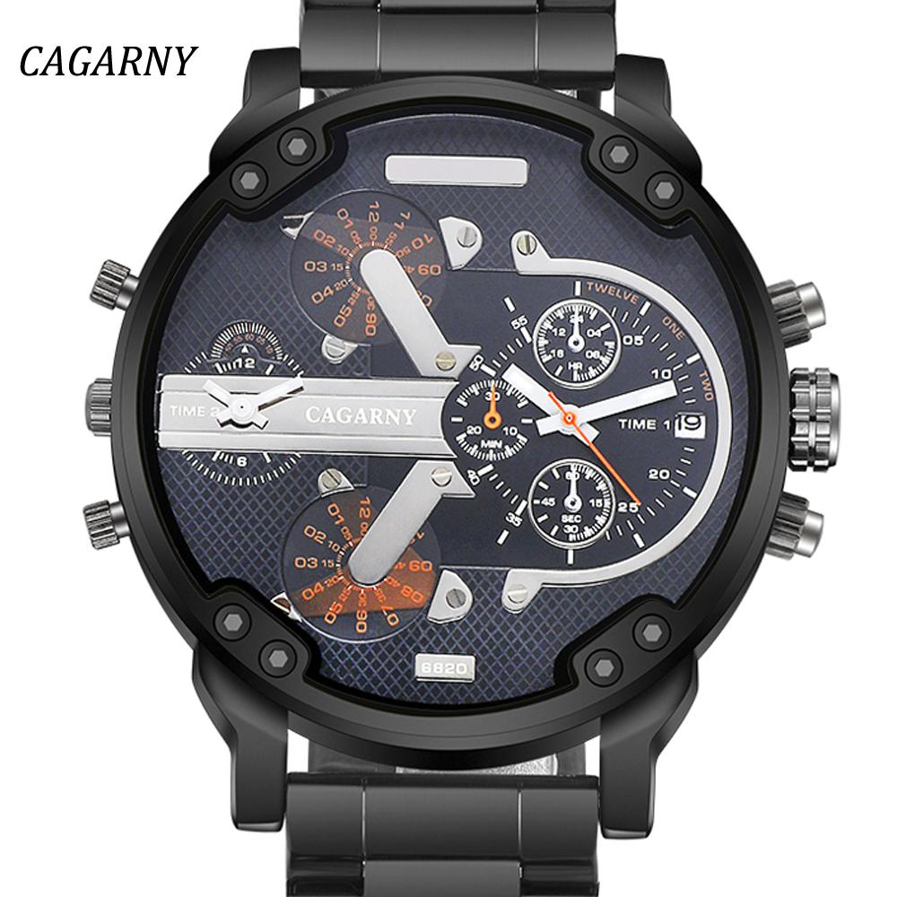 Prix pour Quartz de Montres Hommes Montre Dual Time Affichage Militaire CAGARNY Grand Design du Cadran Mâle Horloge Sport De Luxe De Mode Relogio Masculino