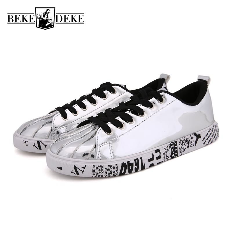 Shell Toe Men Lace Up Loafers Pu Leather Casual Shoes Male Footwear Breathable High Quality Brand Large Size 36-46 Plat Silver wonzom high quality genuine leather brand men casual shoes fashion breathable comfort footwear for male slip on driving loafers