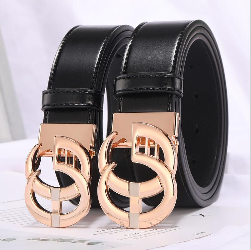 Image 2 - 2019 New Fashion Style Real cowhide man women leather leisure belt smooth  Gold Silver black buckle fashion popular lady straps-in Men's Belts from Apparel Accessories