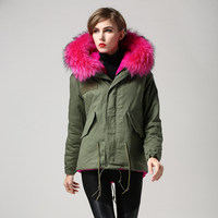 2017 Womens Windproof Coats Real Whole Raccoon Fur Hoody Overocats Import Faux Fur Lining Lady Winter Warm Parka LX00721