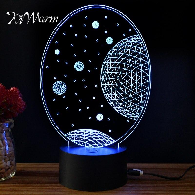 KiWarm Bella 3D Luna Pianeta Disegno Della Novità Della Luce lampada USB Lampada Da Tavolo a led Bulbing luce Variopinta di notte A Casa Ornamento Regalo