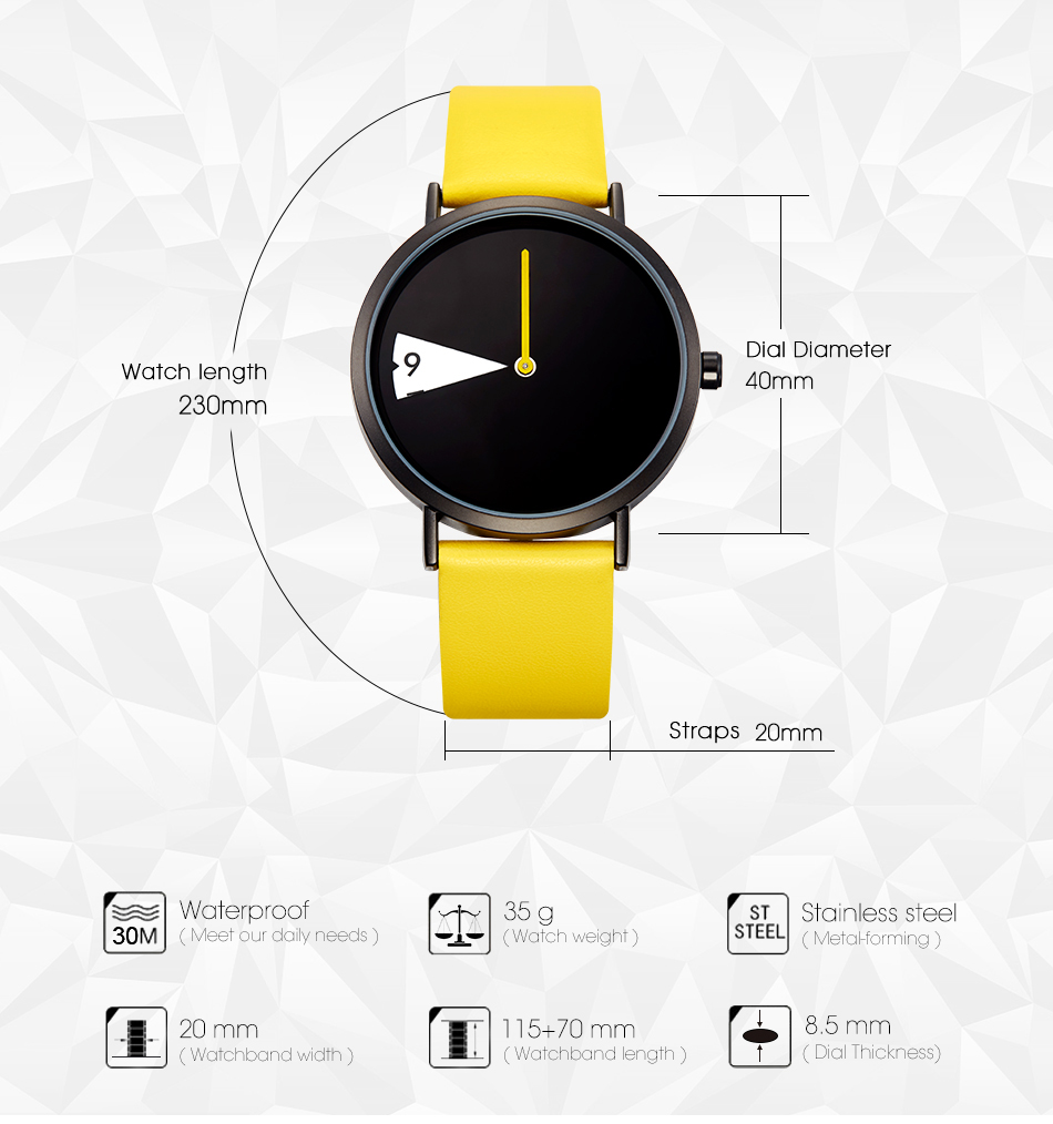 Sinobi Women Watch Creative Wristwatch Lady Clock Rotate Yellow Leather Band Wristwatches Clock Montres Femme Reloj Mujer 8