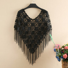 2019 New Fashion Summer Women Hollow Out Shawl Cape Sexy Short Sleeve Tasse Top Sun Protection Shirt