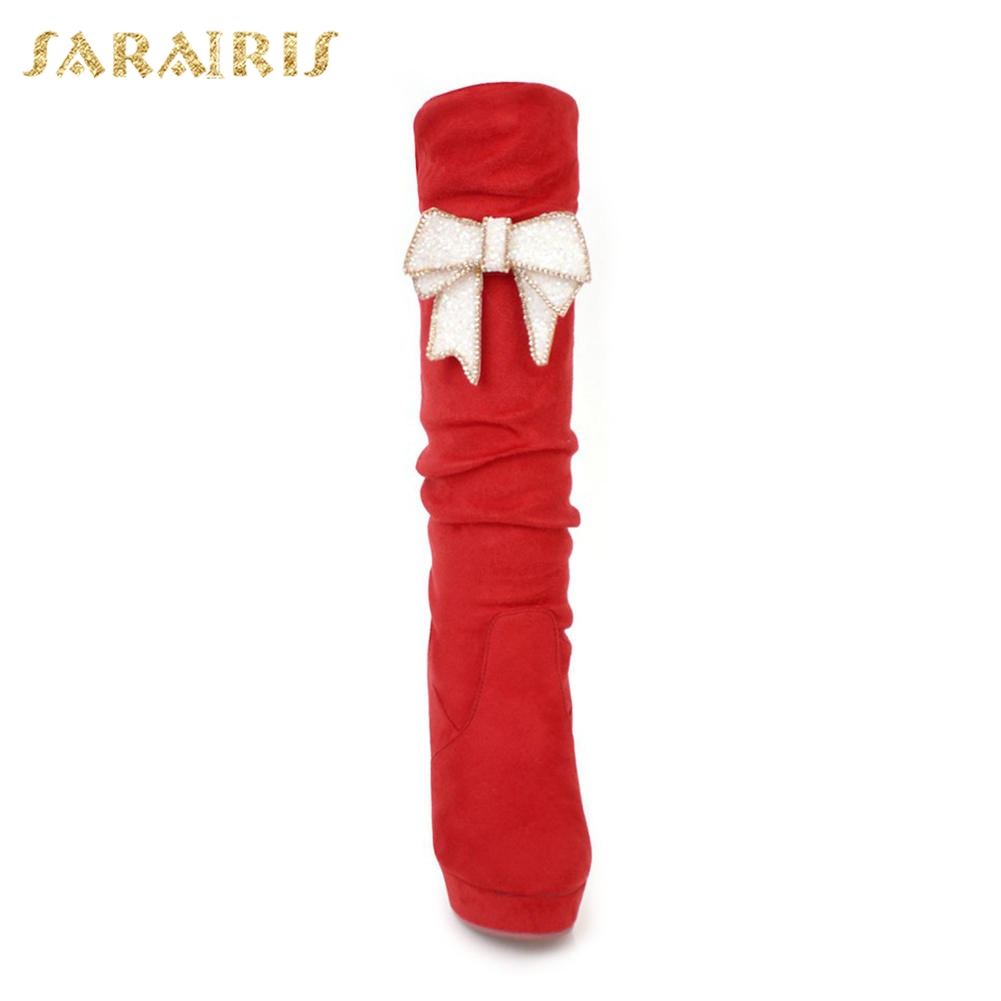 43 En rojo Mujer Plataforma Sarairis Becerro Tacones Venta Dulce De Negro Chunky Bowtie Mediados Size Plus 32 Botas Zapatos nwHxqHYBt