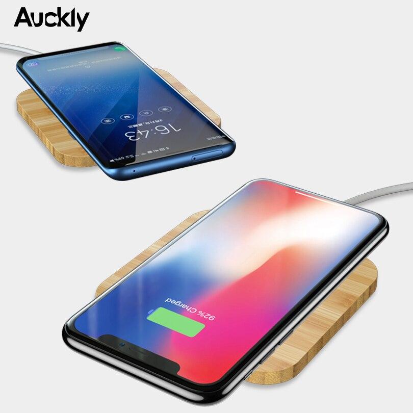 Auckly rápido cargador inalámbrico 7,5 W de bambú inalámbrico Qi almohadilla de carga para iPhone 8/8 Plus/X/XS. /XR y Samsung Galaxy S9/S9 Plus