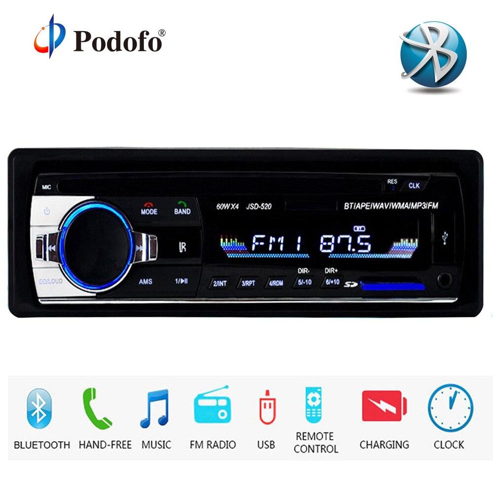 Podofo Autoradio JSD-520 12 V coche Radio Bluetooth 1 din estéreo radios AUX-IN FM/USB/receptor MP3 reproductor Multimedia de Audio de coche