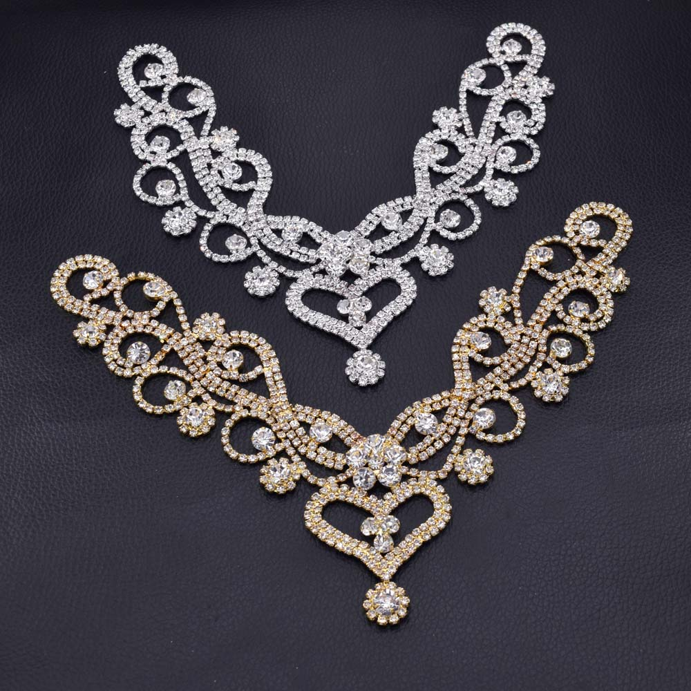 Hot sale 10pcs lot handmade shiny glass crystal Sewing rhinestone applique sew on neckline collar for