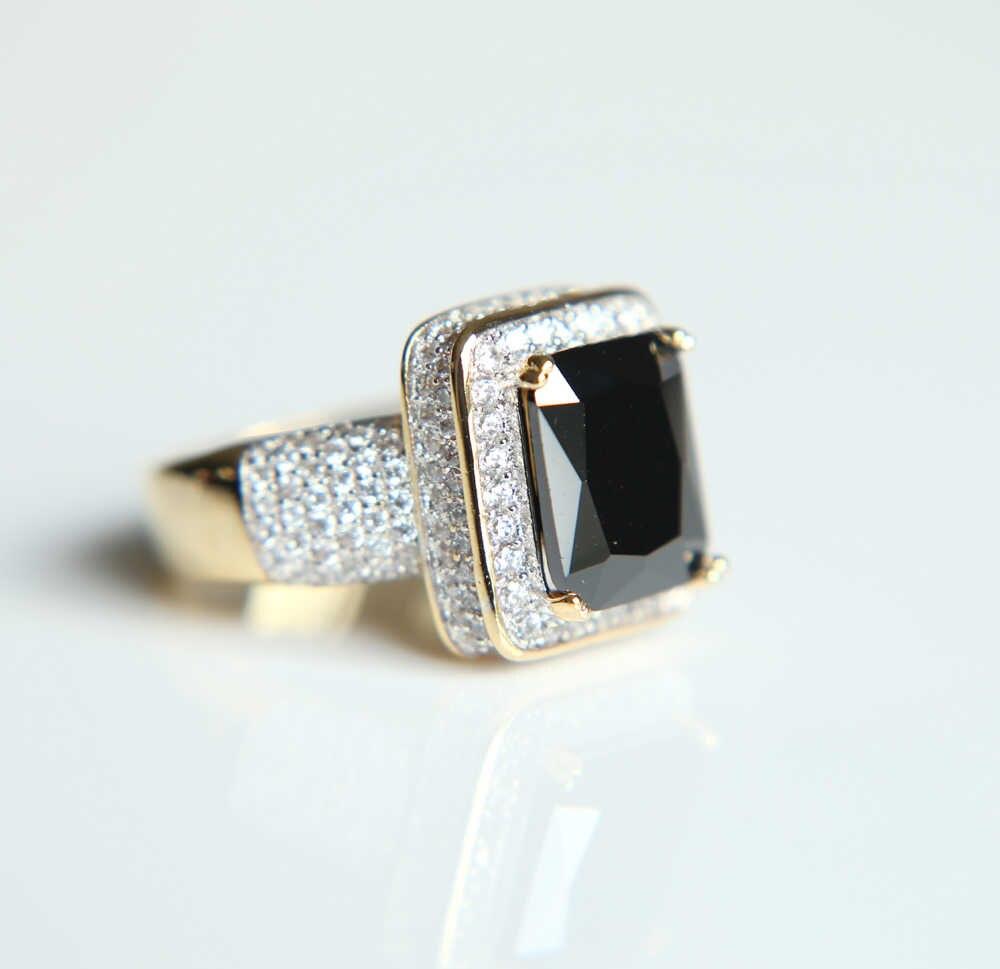 2017 Высокое качество большой черный квадратный камень хип хоп шикарные мужские Свадебные обручальные Модные кольца для мужчин
