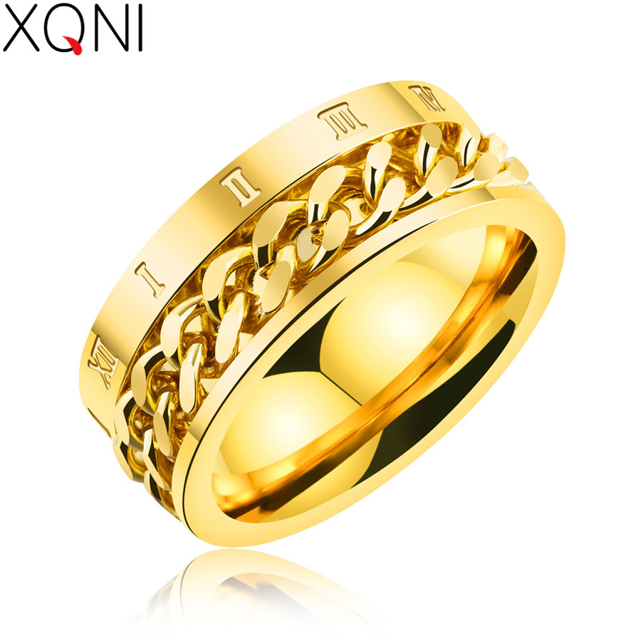Wedding Ring On Chain Boy Or Girl: XQNI Unique Chain Spinner Rings For Men Roman Numerals