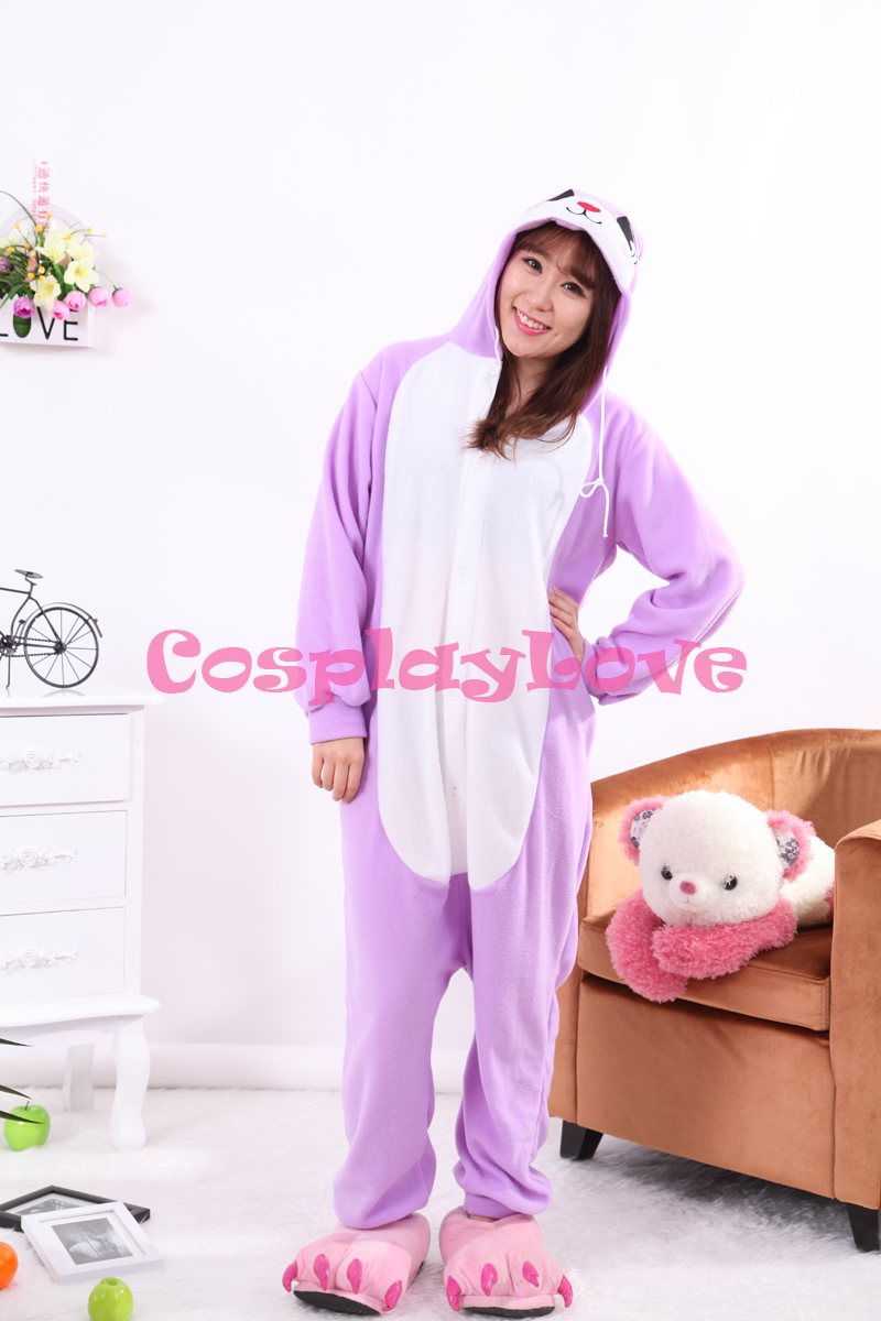 Purple Rabbit Pajamas Animal Cosplay Costume Kid Adult Pajamas Onesies Cartoon Sleepwear Sleepsuit