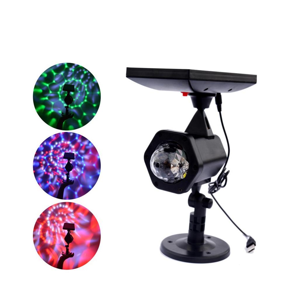 Solar Power LED Projector Luz Coloridas Girando