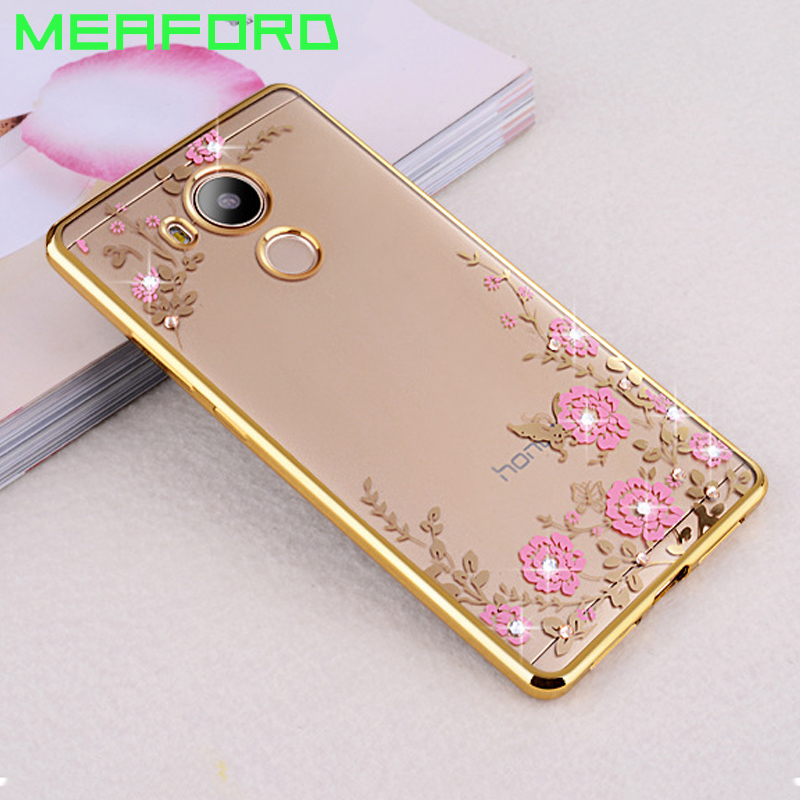 For Huawei Honor 6A Case TPU silicone Capa Flower Bling Diamond Clear Soft Case For Huawei Honor 6A pro 6 A play 5.0 Coque Capa