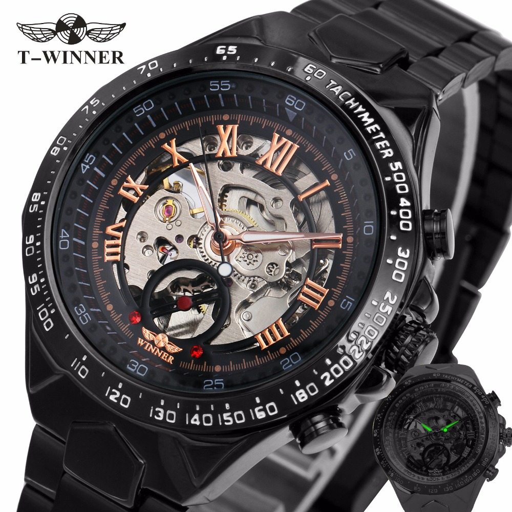 цены 2017 Black Rose Gold WINNER Men Watch Cool Mechanical Automatic Wristwatch Stainless Steel Band Male Clock Skeleton Roman Dial