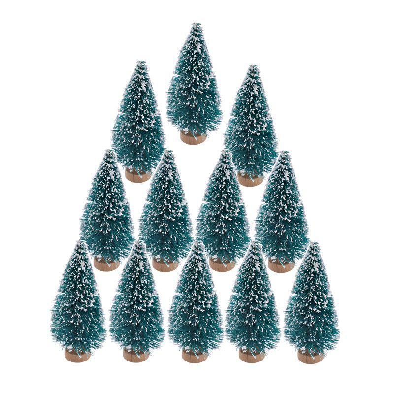 12pcs small diy christmas tree fake pine tree mini sisal bottle brush christmas tree santa snow frost village house in trees from home garden on