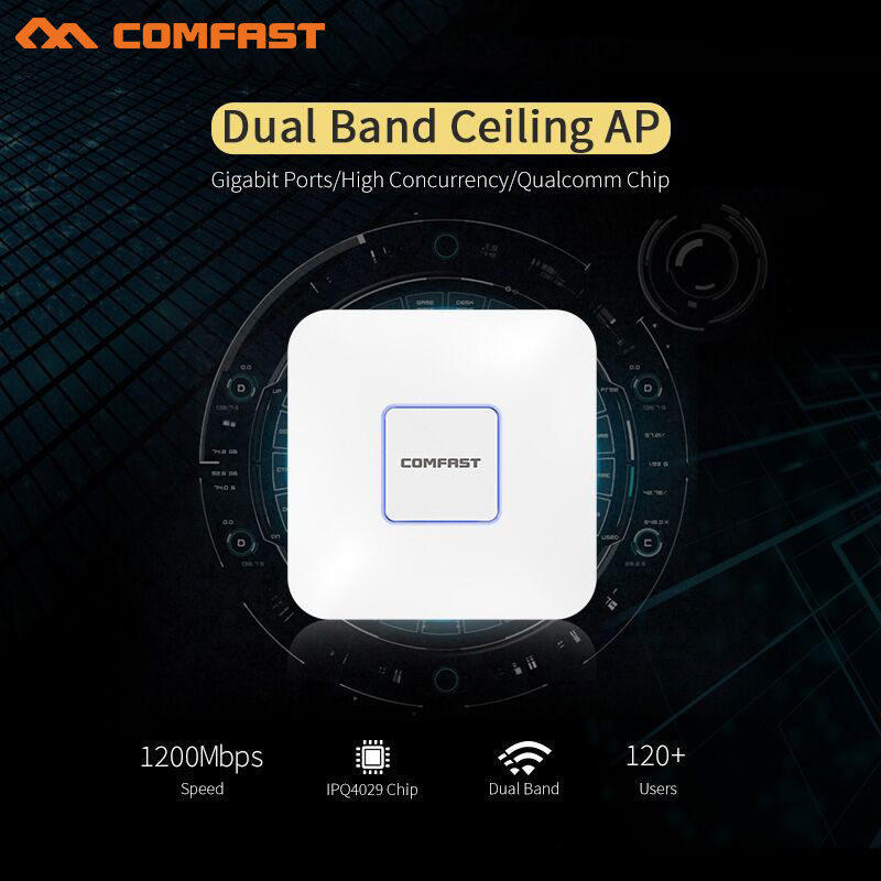 COMFAST 1200M Dual Band Gigabit wireless AP 5.8GHz openwrt 48V POE Wi fi Access Point AC routers Wi fi Signal Booster Amplifier new comfast cf wr750acv2 wireless wifi repeater 750mbps routers dual band 5ghz 802 11ac wi fi roteador extender wifi amplifier