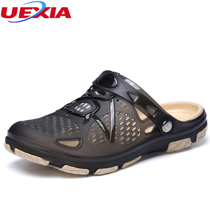 UEXIA 2020 Outdoor Casual Walking Beach Flip Flops Casual Men Shoes Non-slip Hollow Jelly Summer Water Flats Breathable Massage