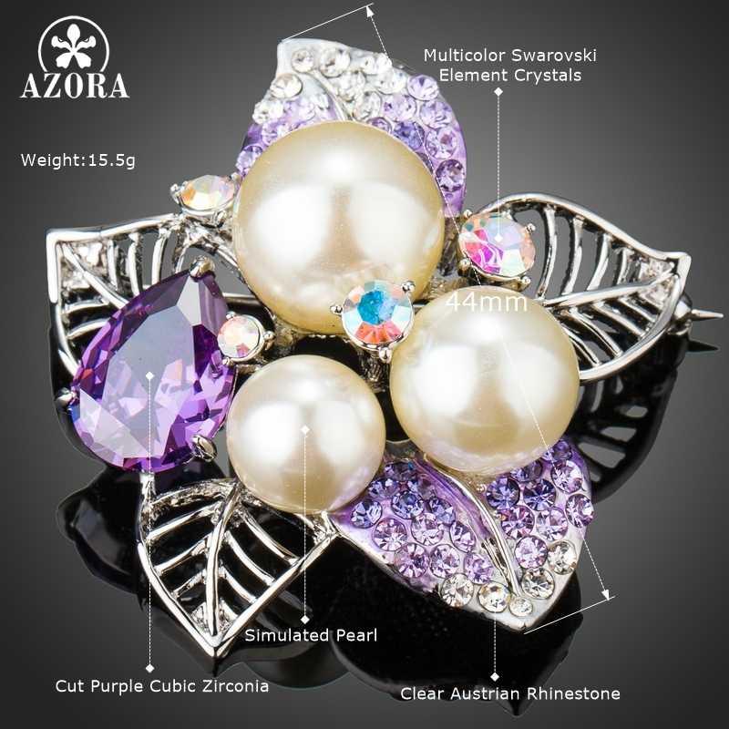 Azora Baru Mewah Putih Emas Warna Ungu Besar Cubic Zirconia dengan Simulasi Mutiara Bunga Bros Pin untuk Wanita Daun Bros TP0075