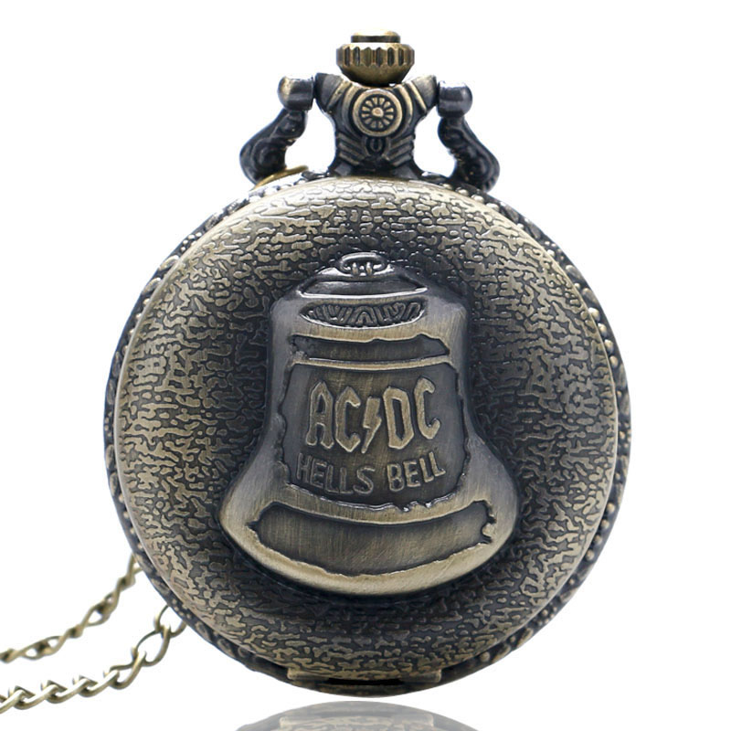 Bronze Hells Bell ACDC Pattern Quartz Pocket Watch Unisex Stainless Steel Case Arabic Numerals White Dial Necklace Chain Gifts
