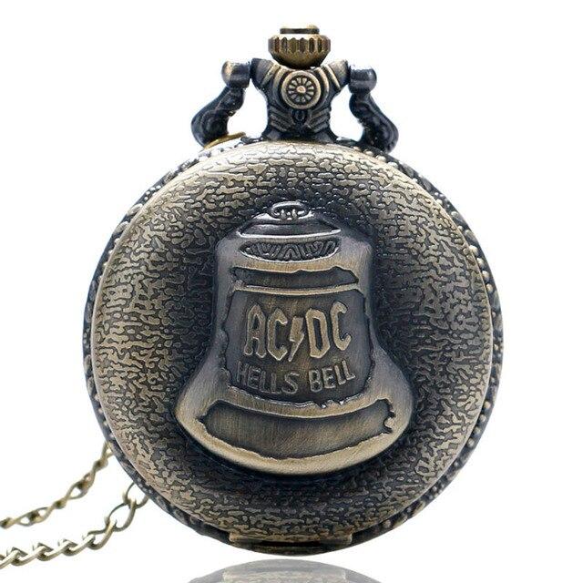 Bronze Hells Bell ACDC Pattern Quartz Pocket Watch Unisex Stainless Steel Case A