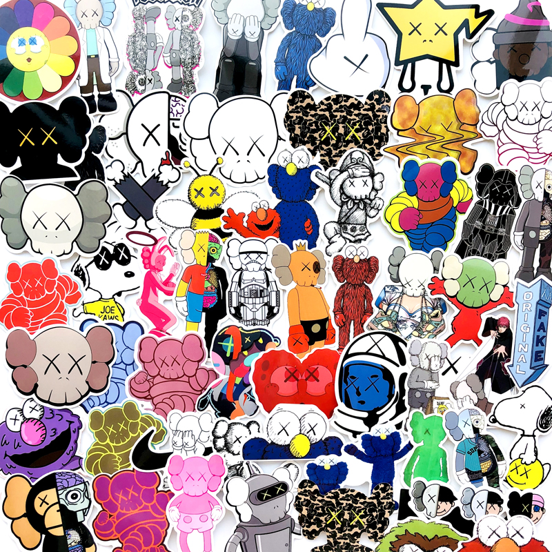 64Pcs/lot Cartoon Kaws Sticker Original Fake Cap Sticker For Car Laptop Bicycle Motorcycle Notebook Waterproof Anime Stickers64Pcs/lot Cartoon Kaws Sticker Original Fake Cap Sticker For Car Laptop Bicycle Motorcycle Notebook Waterproof Anime Stickers