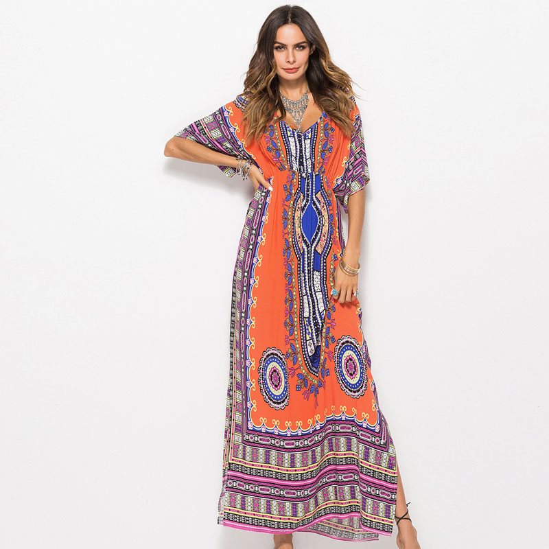2018 Summer Fashion Plus Size Women Print V-Neck Loose Beach Long Dress Casual Clothes Split Bohemian Maxi Party Pareo Dresses