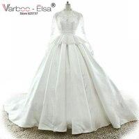 VARBOO ELSA White Elegant Satin Wedding Dress 2018 Custom High Quality Bridal Dresses Lace Appliques Long