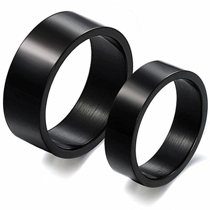 Hot selling! Pure black rings jewelry fashion titanium steel couple rings tide models brand authentic ring anel de formatura