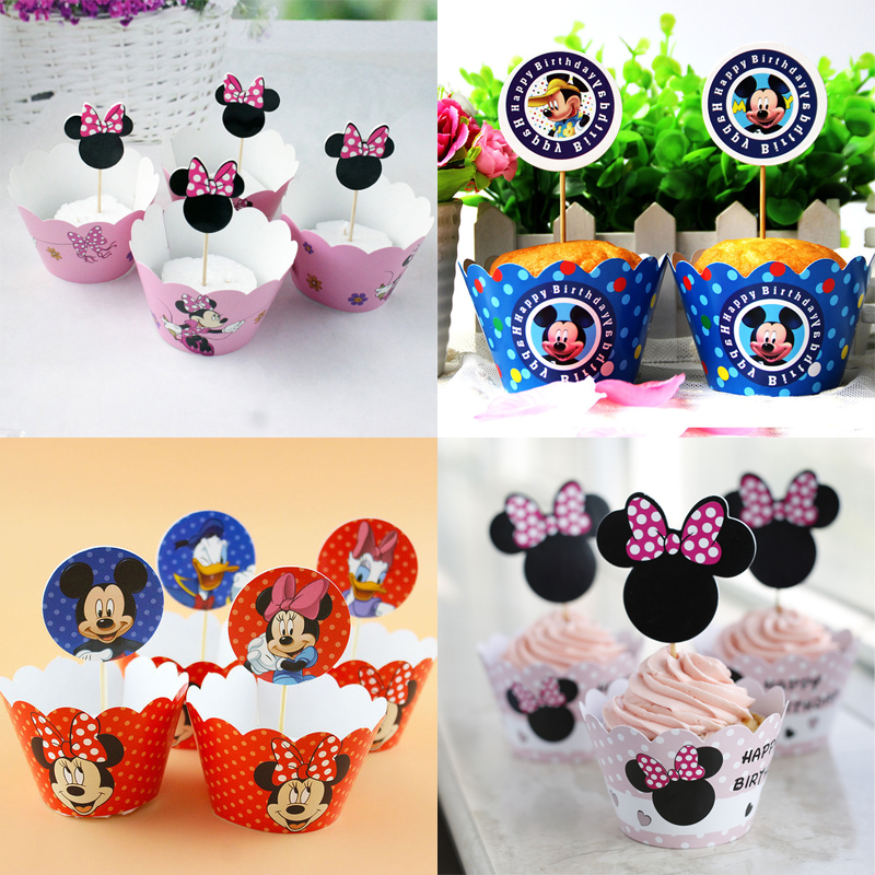 24pc/pack Baby Shower Birthday Party Cake Toppers Without Sticks Kids Girls Favors Decorate Mickey Minnie Theme Cupcake Wrappers(China)