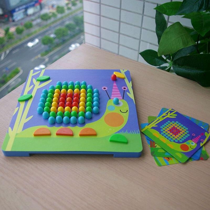 Novedad Mideer niños mosaico uñas setas uñas rompecabezas de Madera Juguetes de escritorio de juguete de dibujos animados