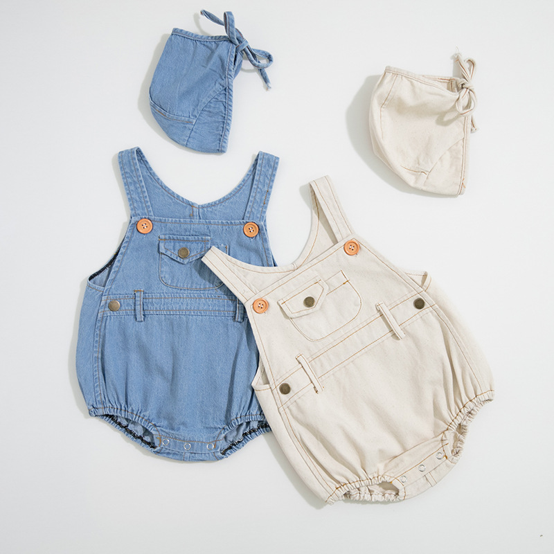 Baby Clothes Newborn Baby Boy Clothes Spring Summer Baby   Romper   With Hat Denim Baby Jumpsuit For Boys Girls Jumpsuit Overalls