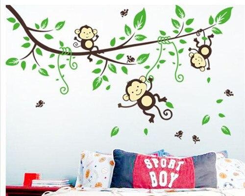 Jungle 3 Cheeky Monkey on Tree Branch Wall Sticker Removable Vinyl Nursery Wall Decals Kids Room Wallpaper Poster DIY