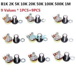 B1K/B2K/B5K/B10K/B20K/B50K/B100K/B500K/B1M (9 valores * 1 Uds = 9 Uds.) WTH148 kit de potenciómetro 15mm 3pin (con tapa) Juego de pack surtido
