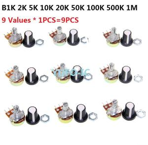 B1K/B2K/B5K/B10K/B20K/B50K/B100K/B500K/B1M (9 Values * 1PCS=9PCS) WTH148 potentiometer kit 15mm 3pin(with cap) Assorted pack set